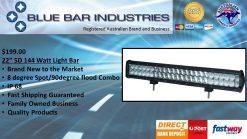 """22"""" 5D Light Bar 144watt 90°/30°/90°-0"""