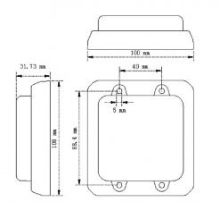 Pair of Rear Facing Stop/Tail/Indicator Lamp 100x108mm-1475