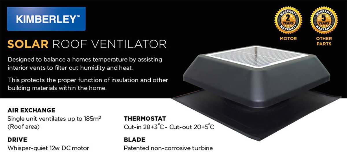 Kimberley Solar Roof Ventilator Bluebar Industries
